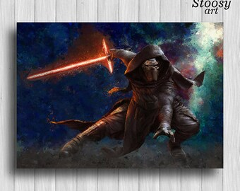 Kylo Ren poster star wars print the force awakens art kylo ren painting