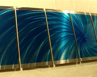 Abstract Painting a Metal Wall Art Sculpture by 360StudioArt the Internationally Acclaimed Artist of Contemporary Decor -  Wow Blue