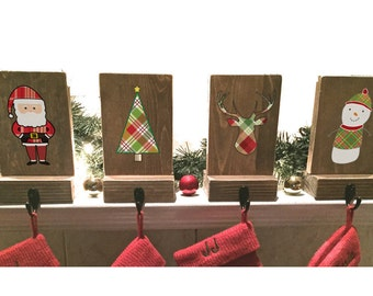stocking holders, mantle stockings, reclaimed wood, set of 4, rustic Christmas, plaid stocking hooks, dog stocking holder, stocking hanger
