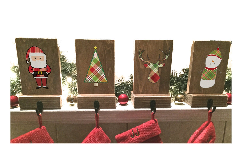 stocking holders mantle stockings reclaimed wood set of 4. Black Bedroom Furniture Sets. Home Design Ideas