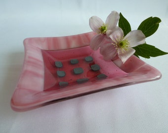 Pink Fused Glass Trinket Dish