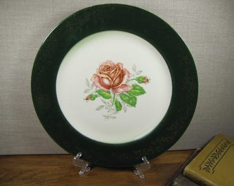 Vintage Dinner Plate - Dark Green Lip - Gold Accent Scrolls and Leaves - Creamy White - Pink Rose
