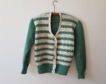 Vest / Vintage / woman / stripes / short / green / white