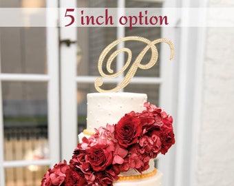 "Bling Wedding Cake Topper - Color Crystal Rhinestone Monogram Initial - 5"" Tall | A B C D E F G H I J K L M N O P Q R S T U V W X Y Z"