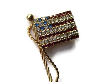 Vintage 1950s Rhinestone USA Flag Patriotic Brooch Pin