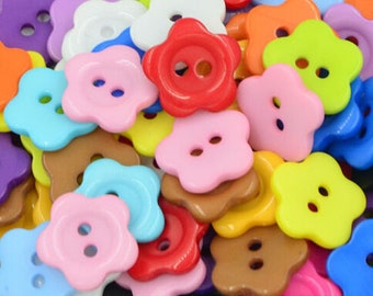 50 pcs Flower Plastic Buttons,Small Plastic Buttons,Buttons For Child,15mm*15mm(143-3)
