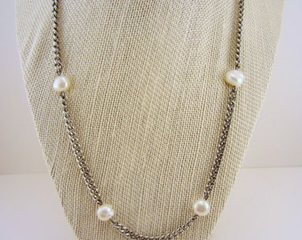 Necklace and earring set, shiny silver steel and genuine white pearl. Industrial and classic. Mixed styles. Dark silver. Upcycled.