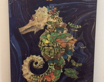 Gold Seahorse and Butterflies Art Collage