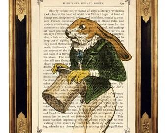 Rabbit Bunny Art Print Gentleman Frock Coat Portrait Easter Image Nursery Poster Steampunk - Vintage Victorian Book Page Art Print