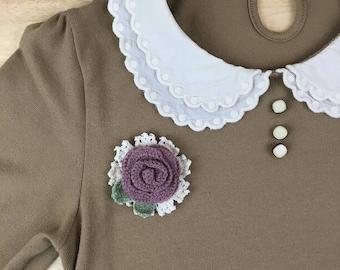 Dusty Lavander Rose Brooch Pin - Crochet lace