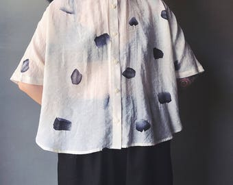 Lost in Kyoto Collection sheer ivory ink petal top shirt