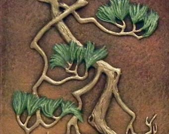 Zen Pine II - Cast Paper - large pine tree - Asian style - wall art - Good feng shui