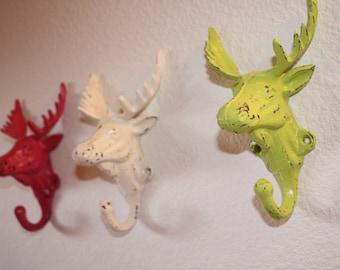 3 Moose Head Hooks, Pink, White, Lime Green, Key Hooks, Shabby Chic, Cabin Decor, Ski Lodge Decor