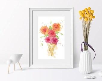 Illustration art print flowers in ice cream cone, summer flower bouquet, watercolour summer, watercolour art print