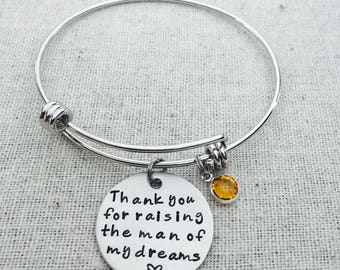 Thank You For Raising The Man Of My Dreams Bangle- Mother Of The Groom Gift- Mother Of The Bride- Gift For Mother In Law- Wedding Day Gift