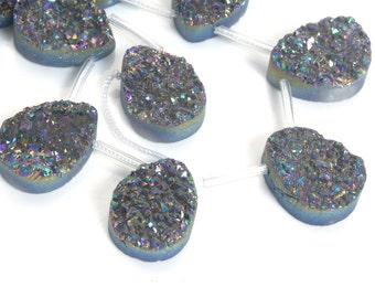 midnight blue AB coated druzy quart beads - Titanium teardrop drusy quartz pendant - bling bling  gemstone jewelry beads - 5 pcs