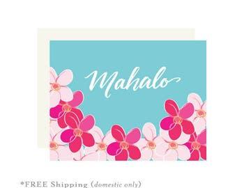 Mahalo floral card, thank you card, hawaii card, hawaii floral card, pink and blue card, thank you greetings, mahalo card, mahalo, thanks
