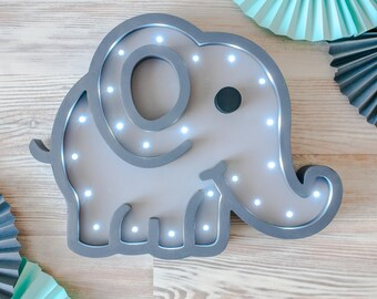 Elephant Gifts Elephant Nursery decor Elephant decor  Baby shower Lamp Elephant LED wooden  Marquee lamp