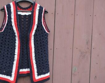 60s Mod Vest, Knitted Vest,color block,Vintage Vest,Op Art, Knitted Vest,High Fashion,1960s Retro Vest,Red,White,Blue,Vintage Vests,Size Med