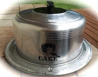 Cake Carrier / Aluminum Carrier /  West Bend Cake Carrier /  Vintage Bakeware /  Cake Taker / Retro Cake Carrier / Photo Prop