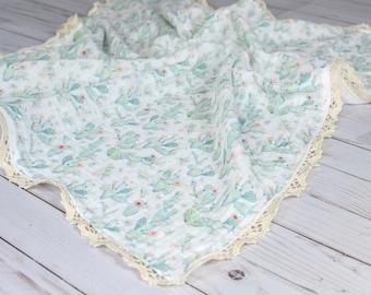 The Lovie Cactus Muslin Blanket with Crochet Trim
