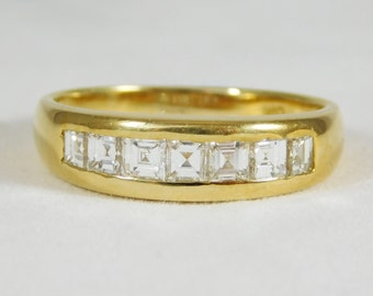 Diamond and 18k Yellow Gold Gentleman's Wedding Band