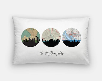 Choose Your Own Adventure pillow | custom pillow | custom map pillow | personalized pillow | city skyline home decor | family name pillow