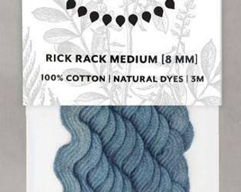 Naturally Dyed 8mm Rick Rack-Light Indigo