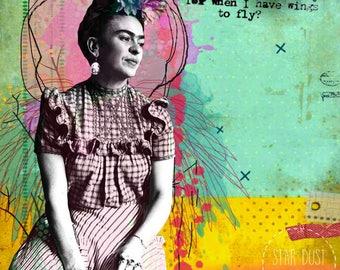 Frida Kahlo, Frida Kahlo quote, Giclee print on canvas, Collage, Collage art on canvas, art collage, Mexico