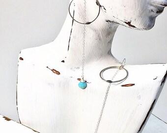 Silver Circle Earrings - Silver Hoop Earrings - Silver and Turquoise Earrings