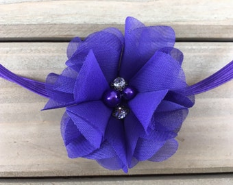 Purple Baby Headband, Purple flower headband, Baby Girl Headband, Baby Headband, Newborn Headband, newborn photoshoot, baby shower