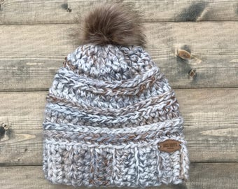 Women's Chunky Crocheted Beanie with Faux Fur Pompom in Fossil