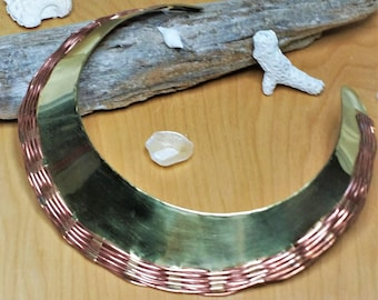 Vintage Choker Collar Necklace of Brass with Copper Wire