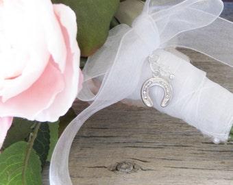 Horseshoe Bouquet Charm, For the Bride, Lucky Brides Charm, Brides Gift, Irish Wedding
