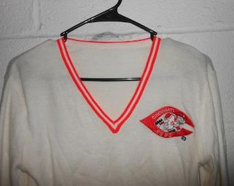 Vintage 80s Cincinnati Reds V-Neck Sweater Small/ XS