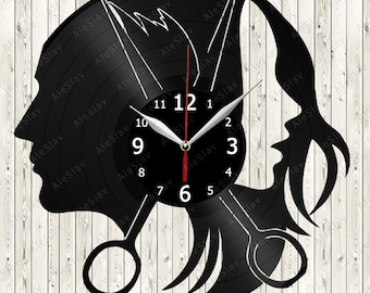 Hairdresser Vinyl Wall Clock Handmade Art Decor Your Room Original Gift 1137
