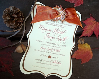 B-Leaf II Autumn Hand Cut Vintage Frame Invitation Set - Sample