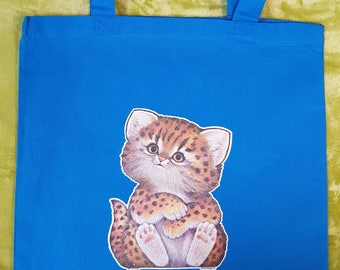 Cotton Tote with Vintage Bengal Kitten Transfer