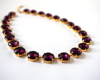 Purple Statement Necklace, Anna Wintour Necklace, Georgian Collet, Amethyst Purple, Riviere Necklace Regency 18th Century, Victorian jewelry
