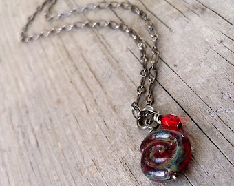 Red Bead Necklace - Single Bead Necklace - Focal Bead Necklace - Bead Necklace - Red Necklace - Holiday Necklace - Holiday Jewelry