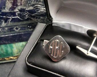 Retro Engraved Sterling Silver Cufflinks Monograms or your initials