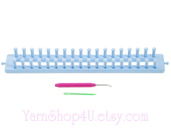Rectangle Loom. 36 pegs. Hook, Needle and Instruction Booklet. All Things You Yarn Accessories. Long Blue Loom, Scarves, hat, etc. Long Loom