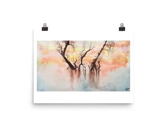 Serene Trees - Watercolor Print
