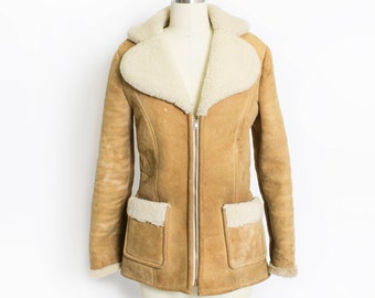 Vintage 1970s Coat - SHEEPSKIN + SHEARLING Brown Fur Winter Suede Leather Jacket 70s - Small / XS