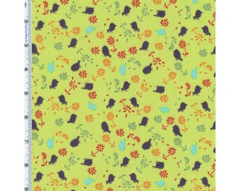 Lime Valori Wells Bridgette Lane Posies Print Flannel, Fabric By The Yard