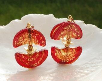 Red Murano Glass Moon Earrings,