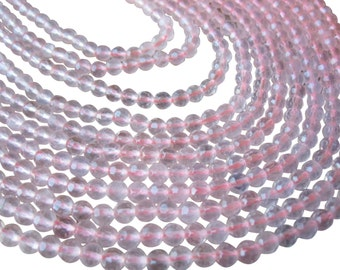 Rose Quartz Beads, Faceted Round, 4mm Faceted Round, SKU 3185