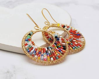Beaded Glass Statement Hoop Earrings - Large Hoop Earrings, Statement Earrings for Her, Gold Hoop Earrings with Beads, Hoop Earrings for Her