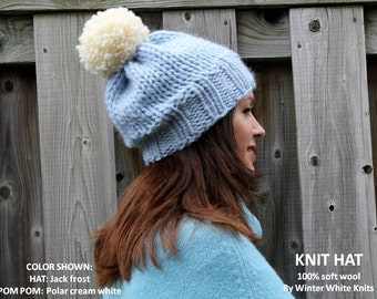 WOOL KNIT HAT, Knit pom pom hat, soft 100% wool knit hat, pom pom knit hat, hand-knit hat, knitted winter hat, so soft and cozy, suggly soft