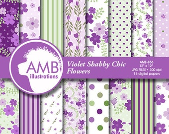 Shabby Chic papers, Violet floral Papers,  Purple floral pattern, Lilac scrapbook papers for all your crafts, commercial use, AMB-856